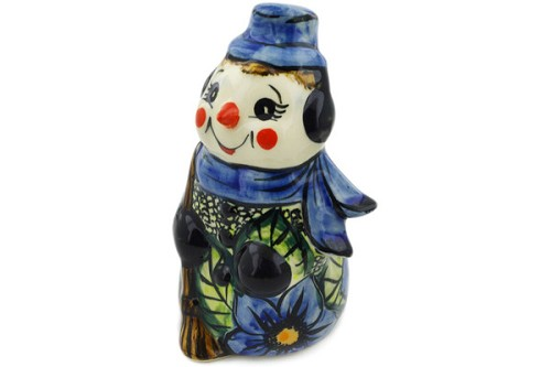 "Polish Pottery Snowman Figurine 5"" by Cer-Raf"