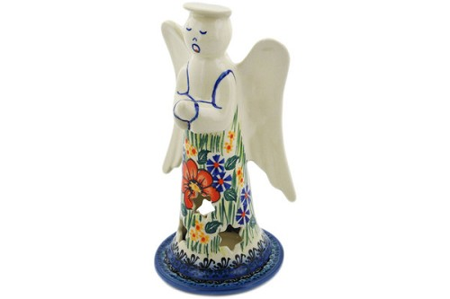 "Polish Pottery Angel Candle Holder 9"" by Cer-Raf"