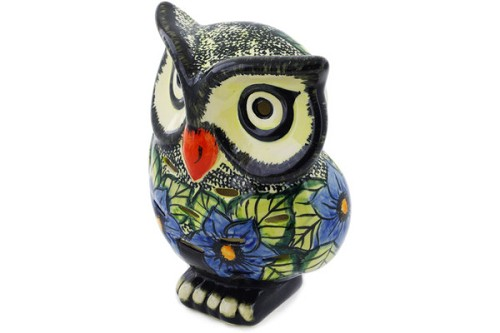 "Polish Pottery Owl Figurine / Candle Holder 8"" by Cer-Raf"