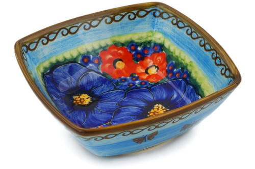 "Polish Pottery Square Bowl 5"" by Cer-Raf"