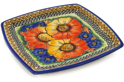 "Polish Pottery Square Plate 7"" by Cer-Raf"