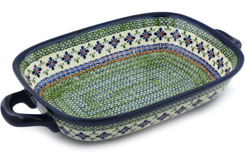 "Polish Pottery 18"" Rectangular Baker with Handles by Zaklady Ceramiczne"