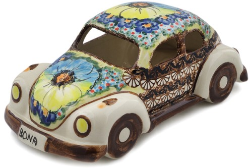 "Polish Pottery Beetle Car Figurine 10"" by Cer-Raf"