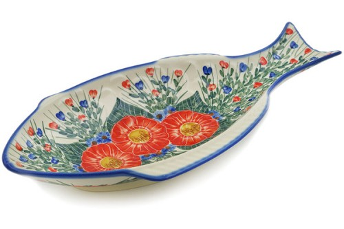 "Polish Pottery Fish Shaped Platter 17"" by Andy"