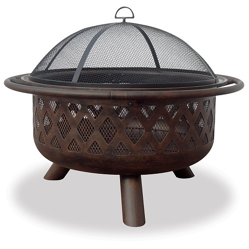 32' WIDE OIL RUBBED BRONZE FIREBOWL W/ LATTICE DESIGN
