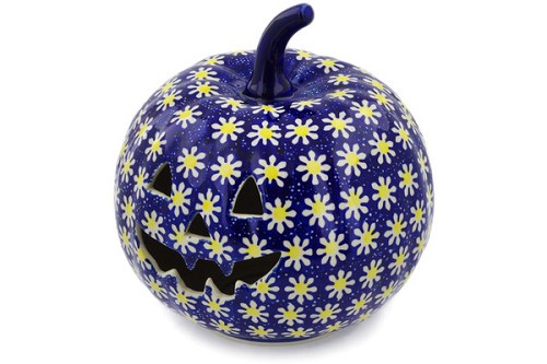 "Polish Pottery Pumpkin Luminary 9"" Jack O Lantern Candle Holder"